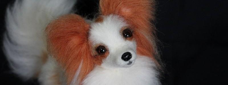 リアルぬいぐるみオーダーメイド 羊毛フェルトパピヨン犬フィギュア